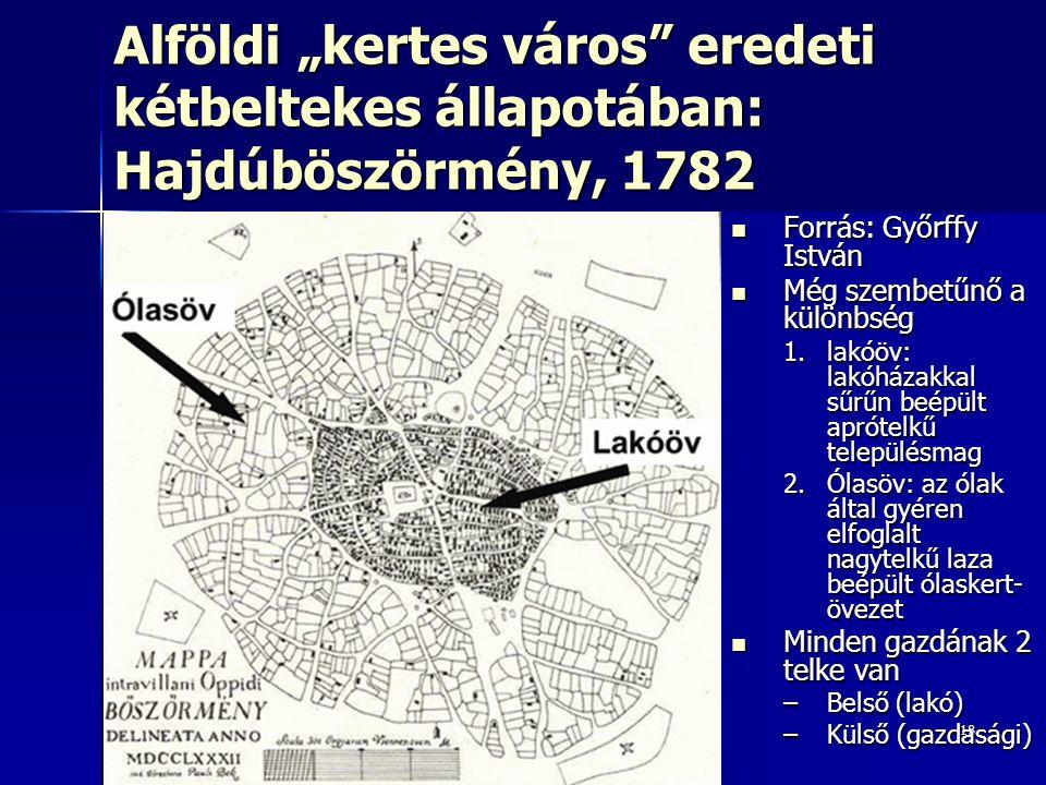 """Alföldi """"kertes város eredeti kétbeltekes állapotában: Hajdúböszörmény, 1782"""