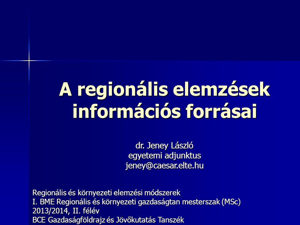 A regionális elemzések információs forrásai