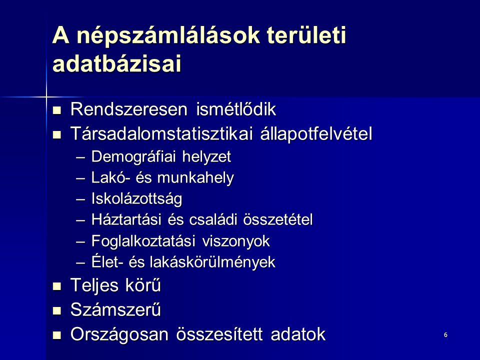 A népszámlálások területi adatbázisai