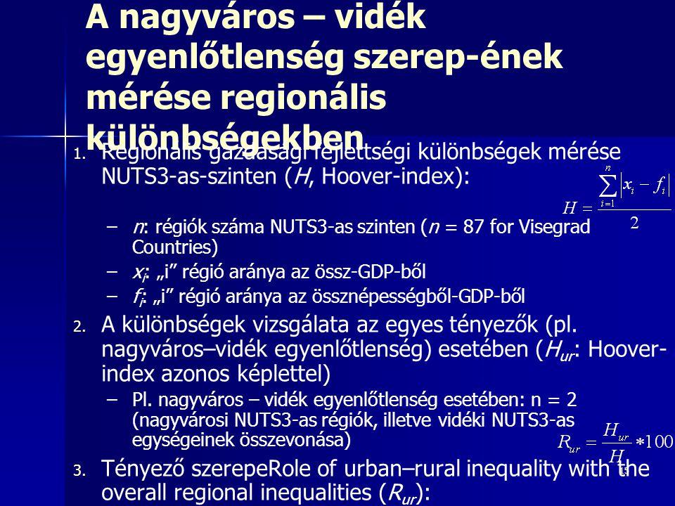 A nagyváros – vidék egyenlőtlenség szerep-ének mérése regionális különbségekben