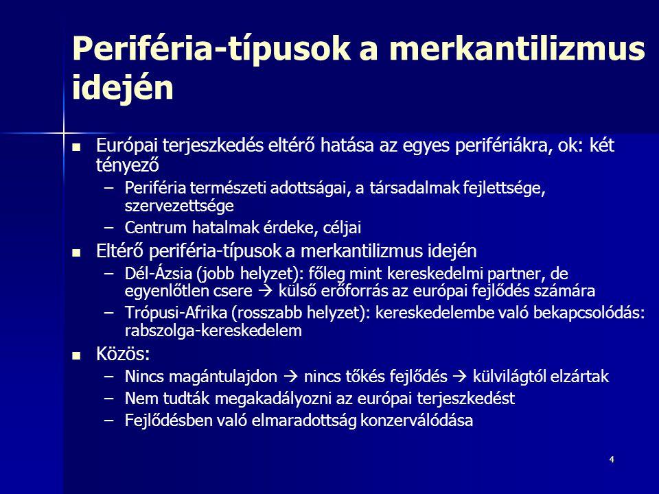 Periféria-típusok a merkantilizmus idején