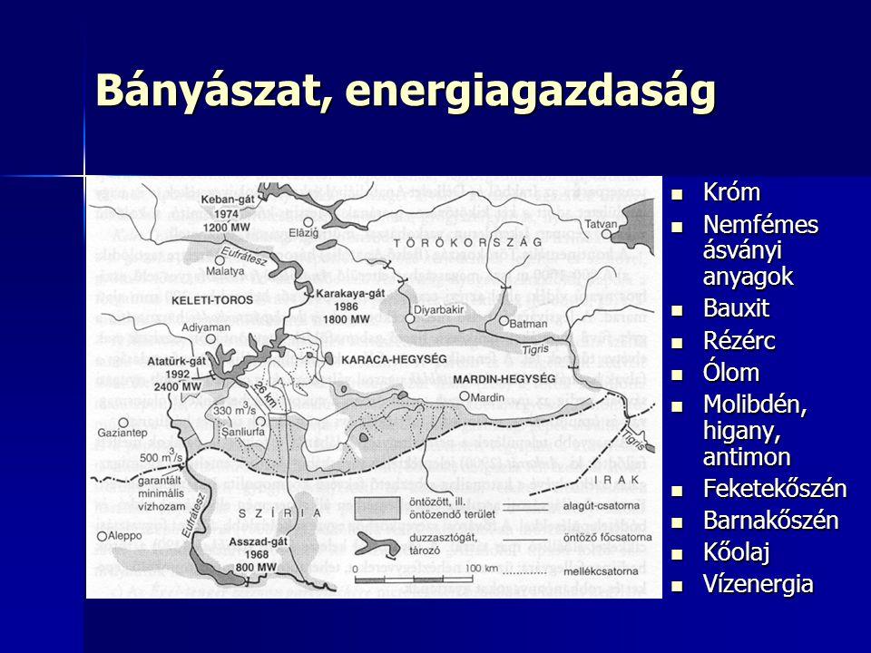 Bányászat, energiagazdaság