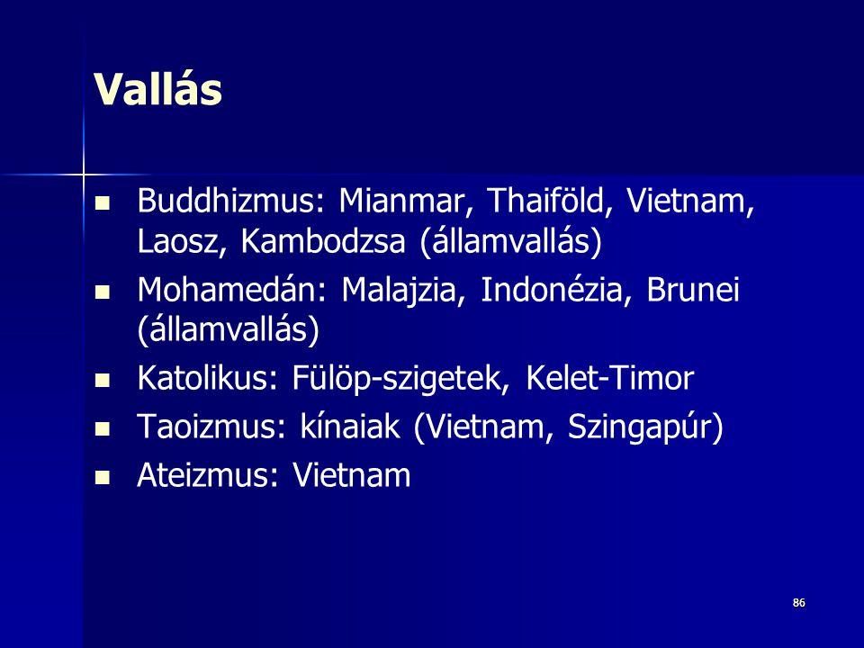 Vallás Buddhizmus: Mianmar, Thaiföld, Vietnam, Laosz, Kambodzsa (államvallás) Mohamedán: Malajzia, Indonézia, Brunei (államvallás)