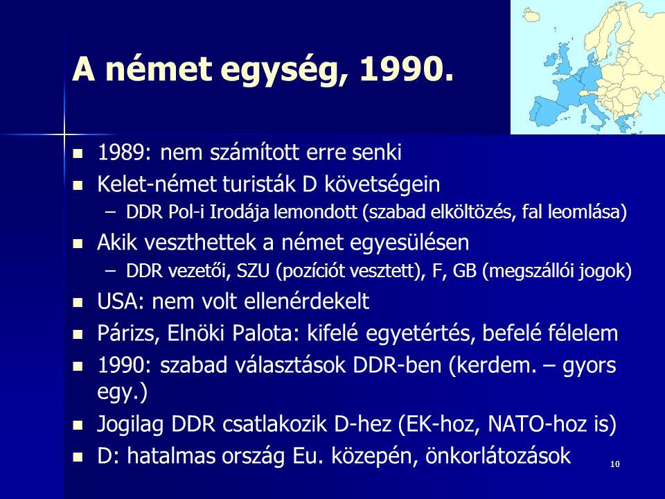 A német egység, 1990. 1989: nem számított erre senki