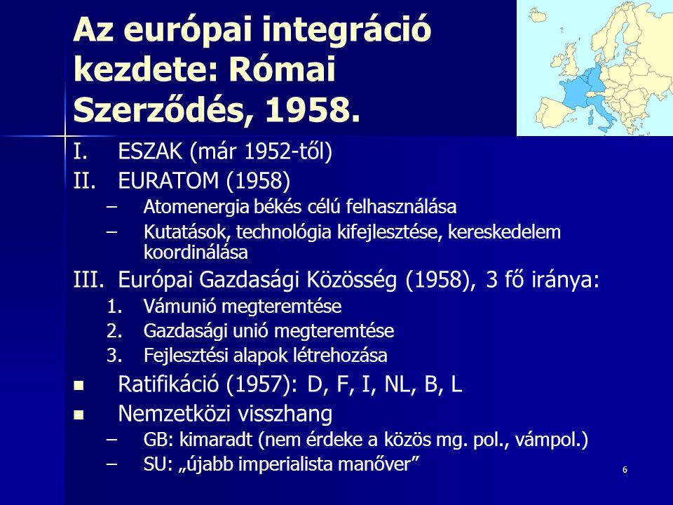 Az európai integráció kezdete: Római Szerződés, 1958.