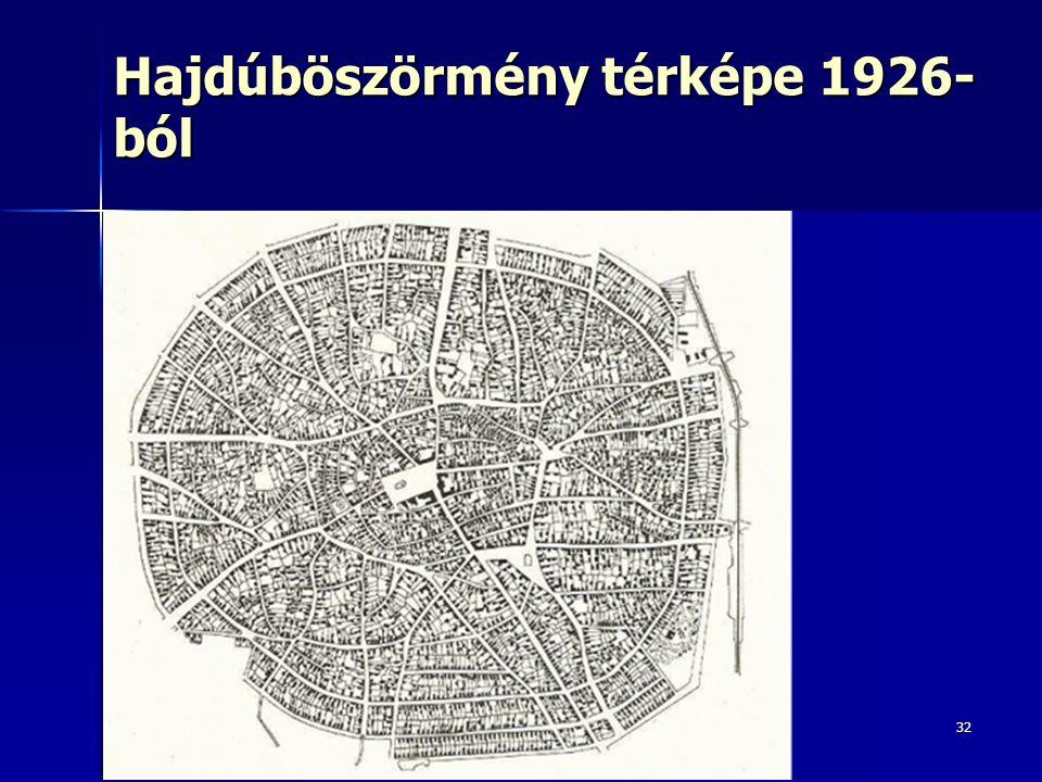 Hajdúböszörmény térképe 1926-ból