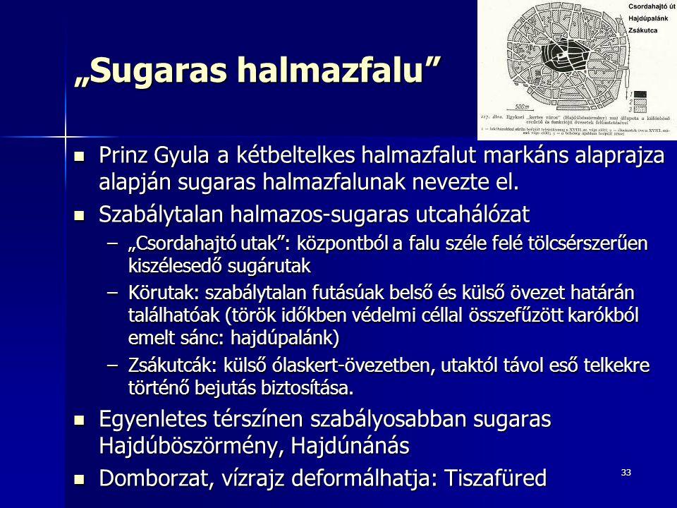 """Sugaras halmazfalu Prinz Gyula a kétbeltelkes halmazfalut markáns alaprajza alapján sugaras halmazfalunak nevezte el."