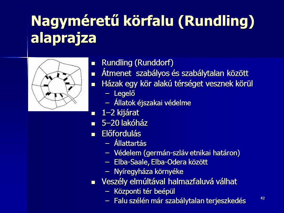 Nagyméretű körfalu (Rundling) alaprajza