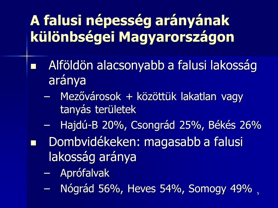 A falusi népesség arányának különbségei Magyarországon