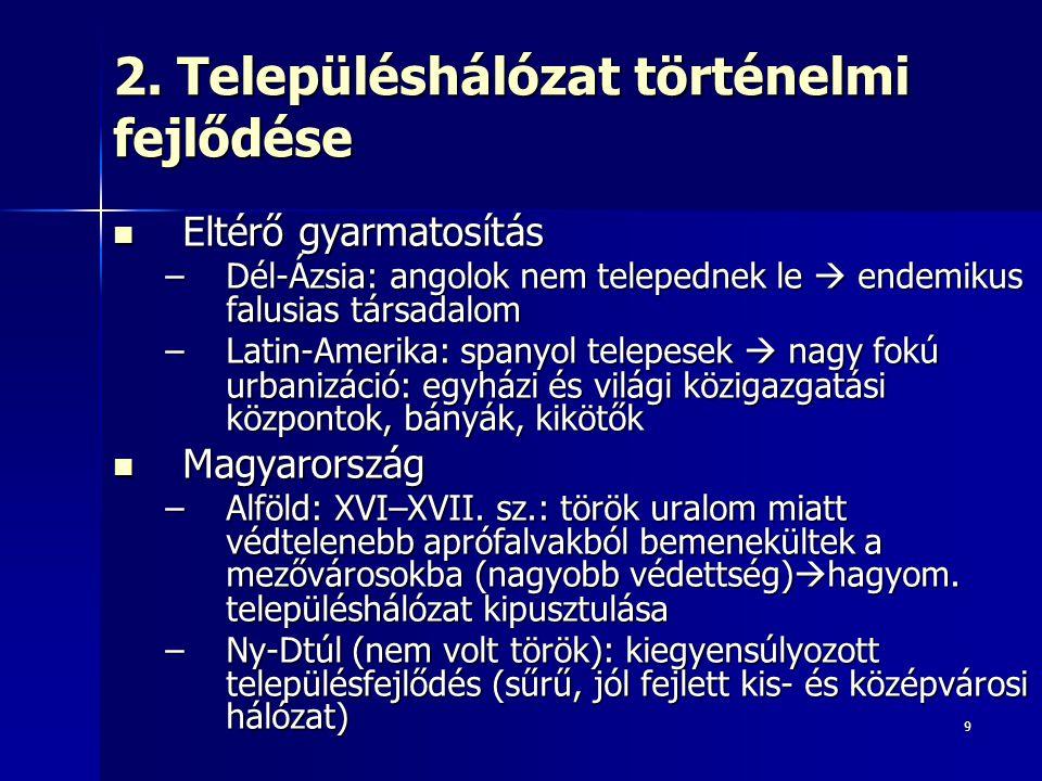 2. Településhálózat történelmi fejlődése