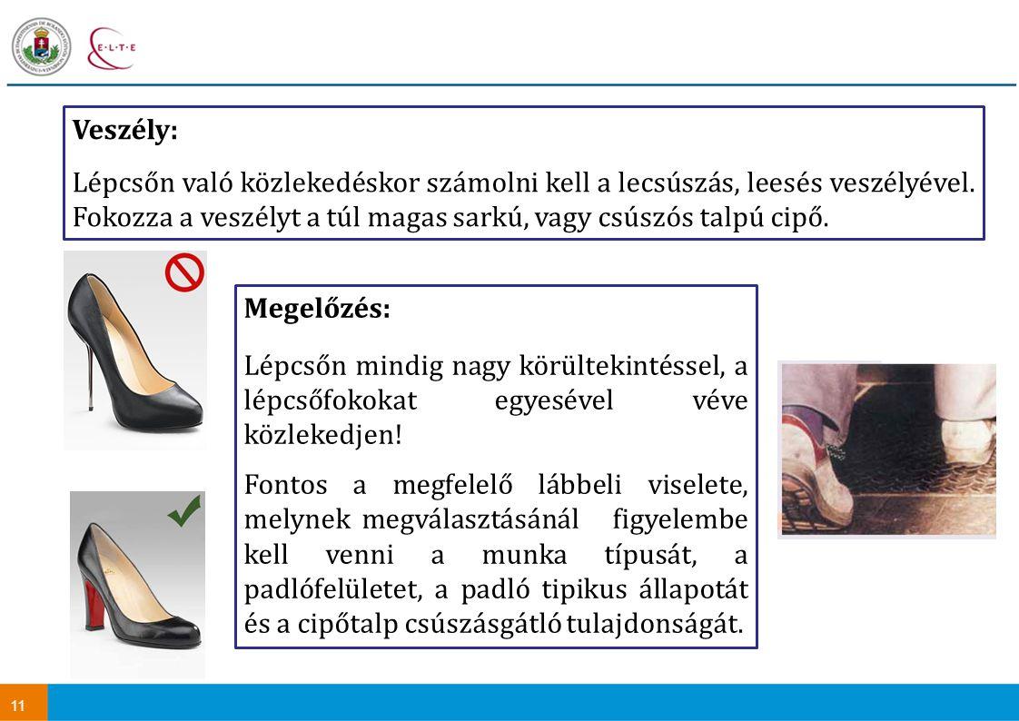 Veszély: Lépcsőn való közlekedéskor számolni kell a lecsúszás, leesés veszélyével. Fokozza a veszélyt a túl magas sarkú, vagy csúszós talpú cipő.