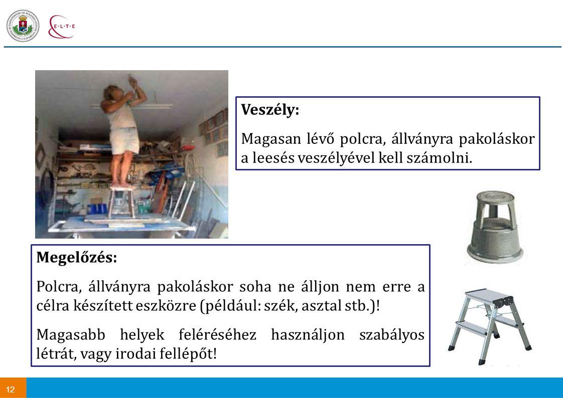 Veszély: Magasan lévő polcra, állványra pakoláskor a leesés veszélyével kell számolni. Megelőzés: