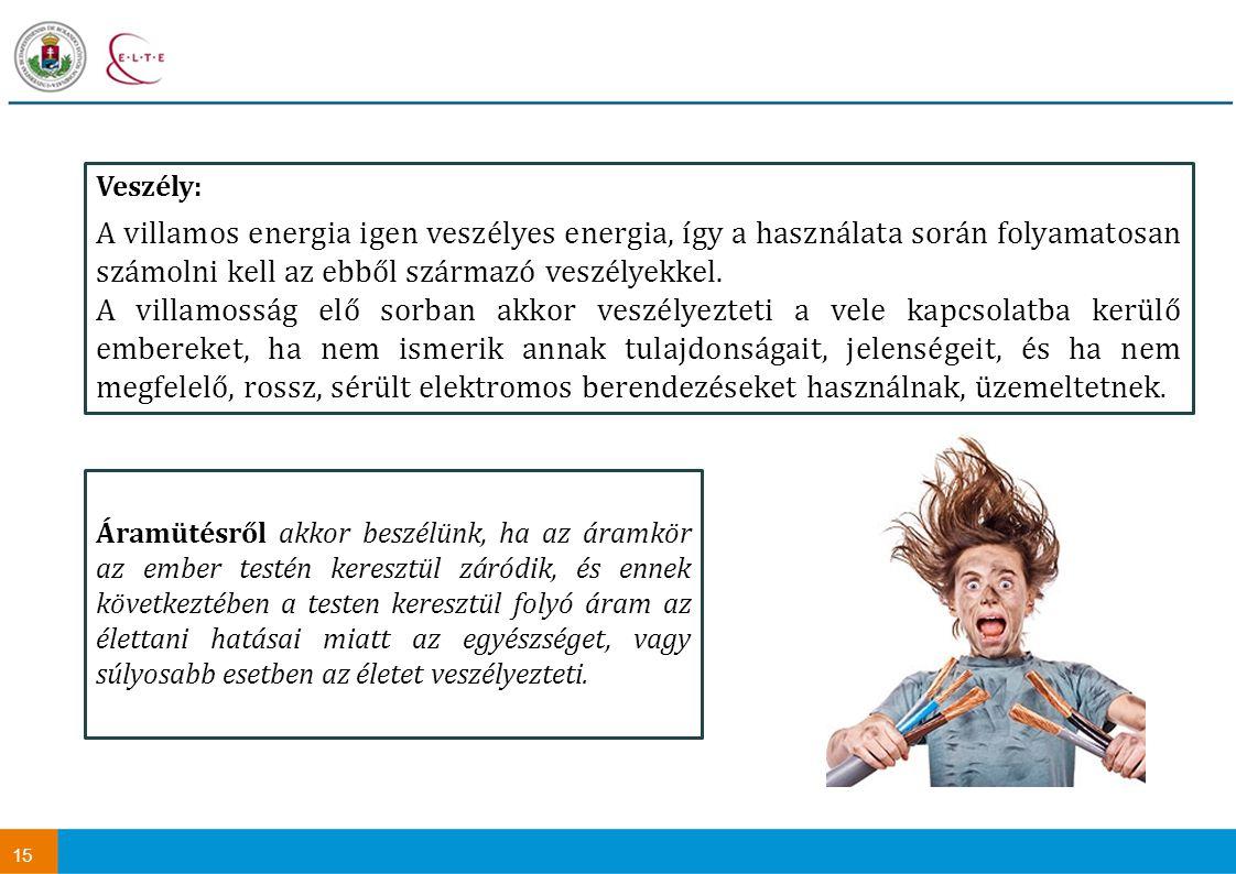 Veszély: A villamos energia igen veszélyes energia, így a használata során folyamatosan számolni kell az ebből származó veszélyekkel.