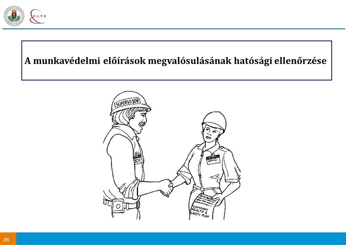 A munkavédelmi előírások megvalósulásának hatósági ellenőrzése