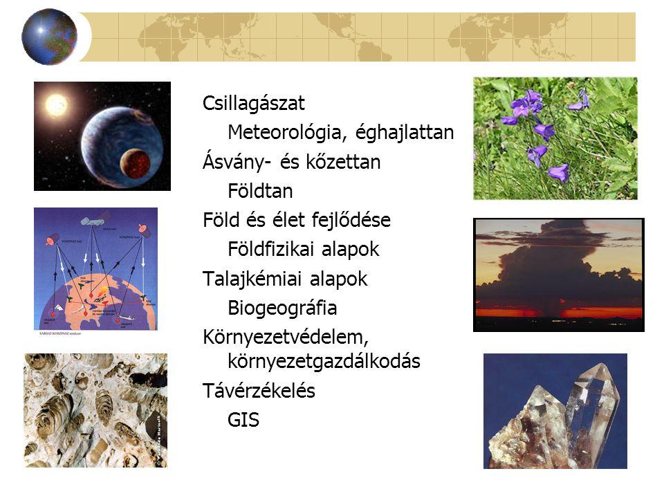 Csillagászat Meteorológia, éghajlattan. Ásvány- és kőzettan. Földtan. Föld és élet fejlődése. Földfizikai alapok.