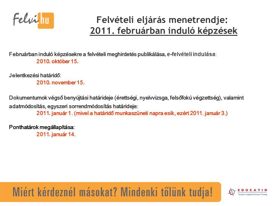 Felvételi eljárás menetrendje: 2011. februárban induló képzések
