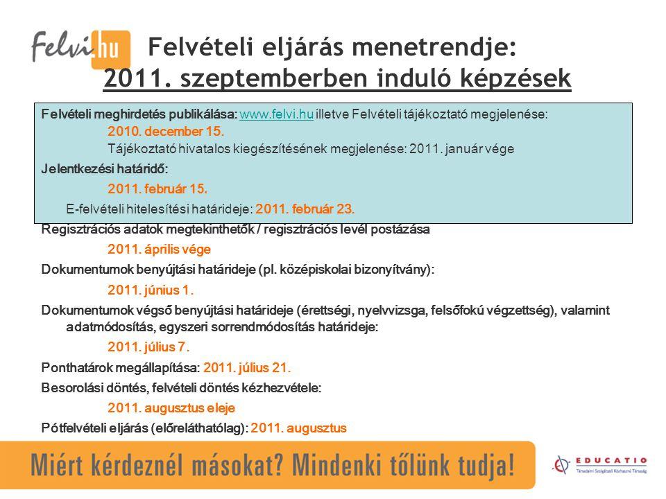 Felvételi eljárás menetrendje: 2011. szeptemberben induló képzések