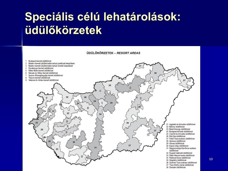 Speciális célú lehatárolások: üdülőkörzetek