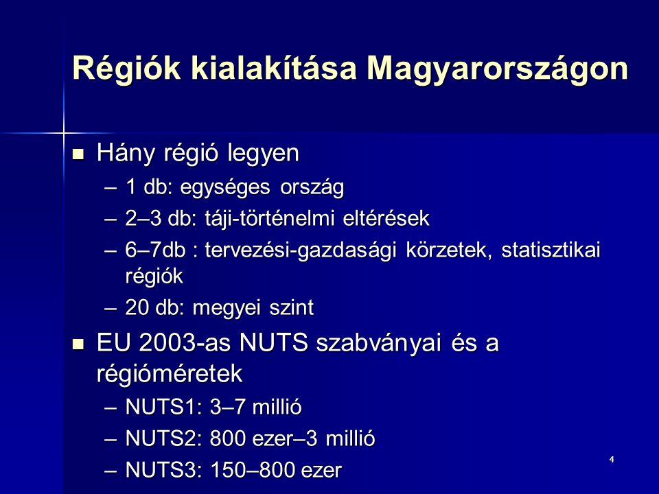 Régiók kialakítása Magyarországon