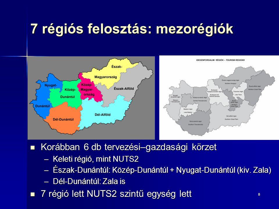7 régiós felosztás: mezorégiók