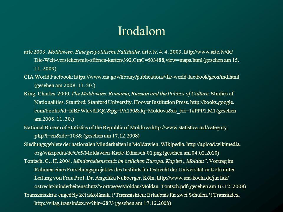 Irodalom arte 2003. Moldawien. Eine geopolitische Fallstudie. arte.tv. 4. 4. 2003. http://www.arte.tv/de/