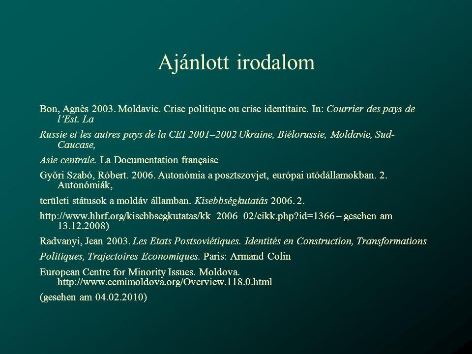 Ajánlott irodalom Bon, Agnès 2003. Moldavie. Crise politique ou crise identitaire. In: Courrier des pays de l'Est. La.