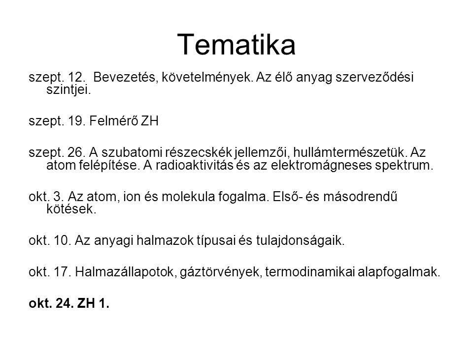 Tematika szept. 12. Bevezetés, követelmények. Az élő anyag szerveződési szintjei. szept. 19. Felmérő ZH.