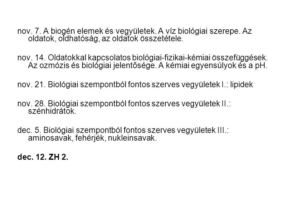 nov. 7. A biogén elemek és vegyületek. A víz biológiai szerepe