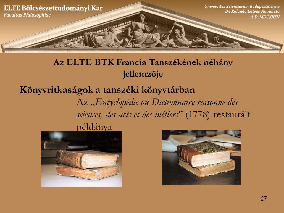 Az ELTE BTK Francia Tanszékének néhány jellemzője