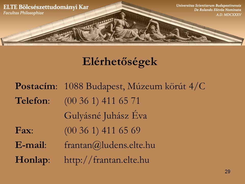 Elérhetőségek Postacím: 1088 Budapest, Múzeum körút 4/C