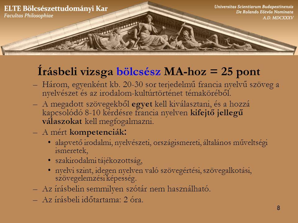 Írásbeli vizsga bölcsész MA-hoz = 25 pont