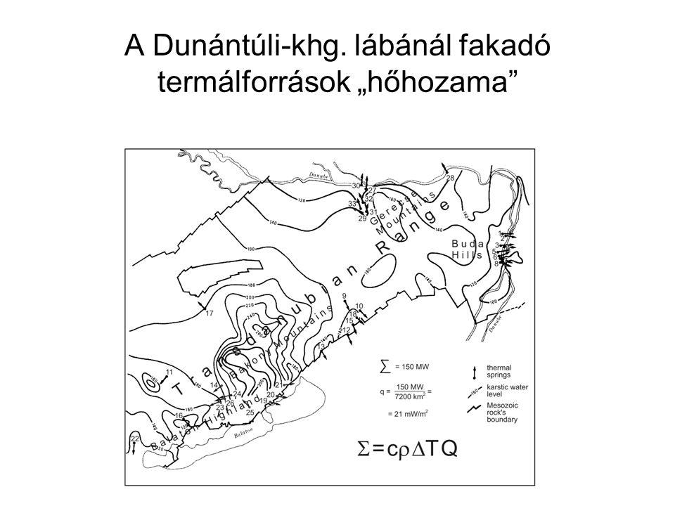 """A Dunántúli-khg. lábánál fakadó termálforrások """"hőhozama"""
