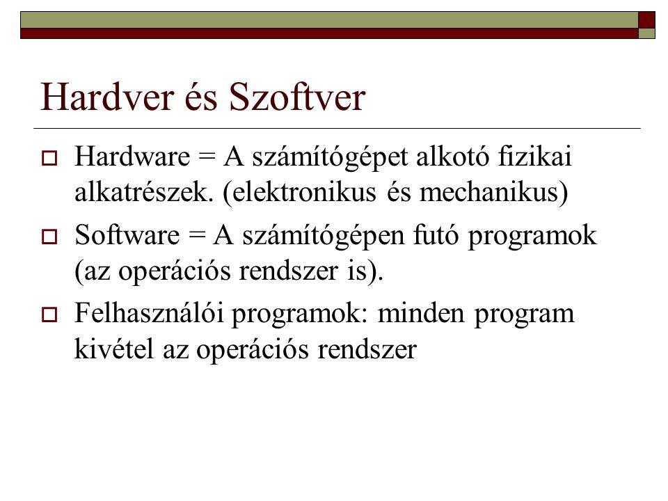 Hardver és Szoftver Hardware = A számítógépet alkotó fizikai alkatrészek. (elektronikus és mechanikus)