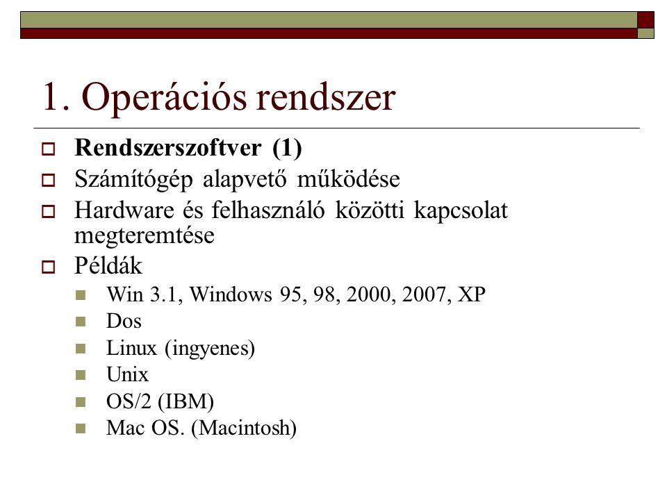 1. Operációs rendszer Rendszerszoftver (1)