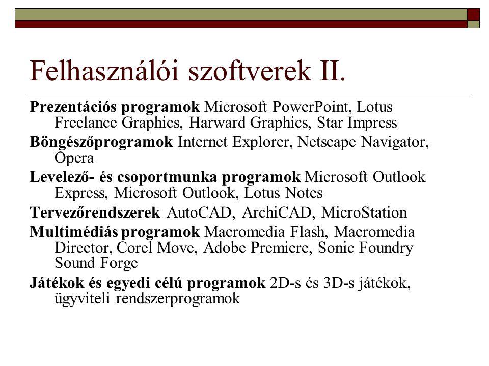 Felhasználói szoftverek II.