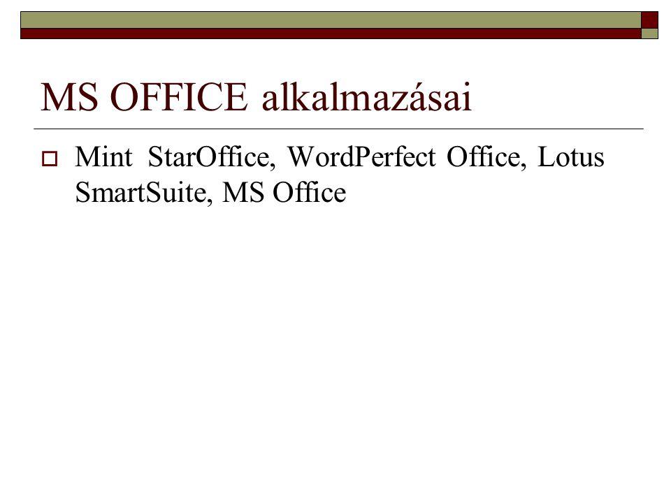 MS OFFICE alkalmazásai