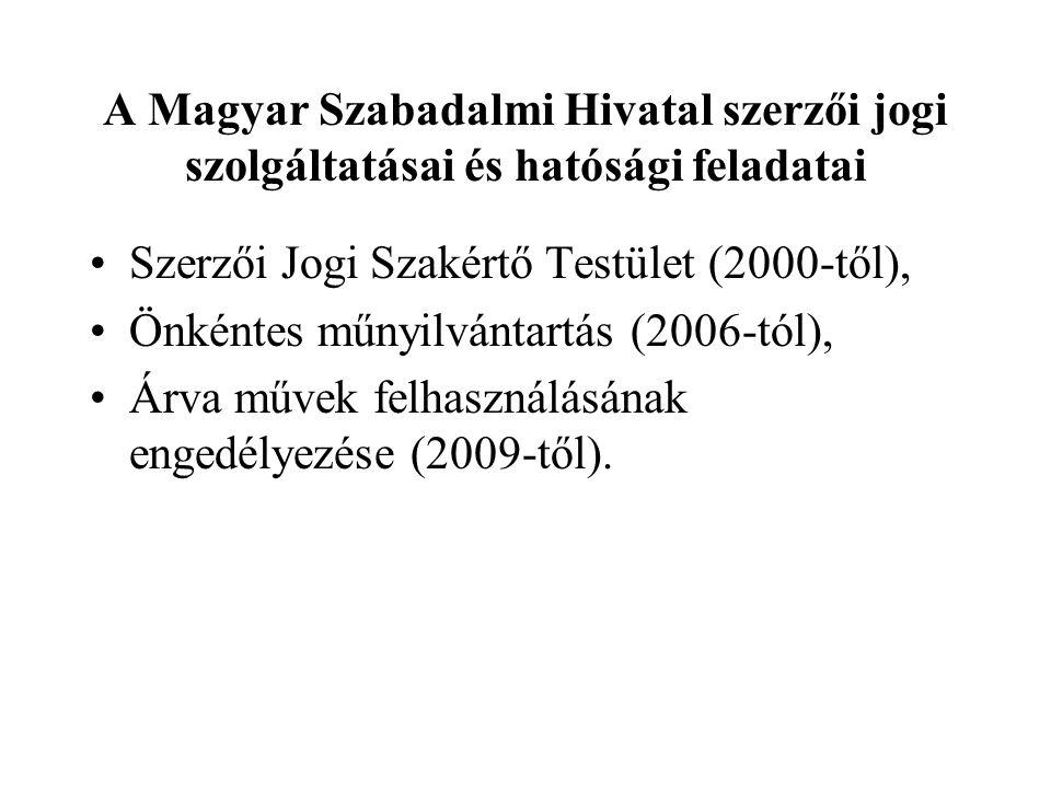 A Magyar Szabadalmi Hivatal szerzői jogi szolgáltatásai és hatósági feladatai