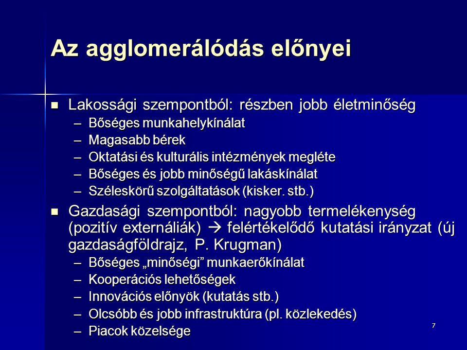 Az agglomerálódás előnyei