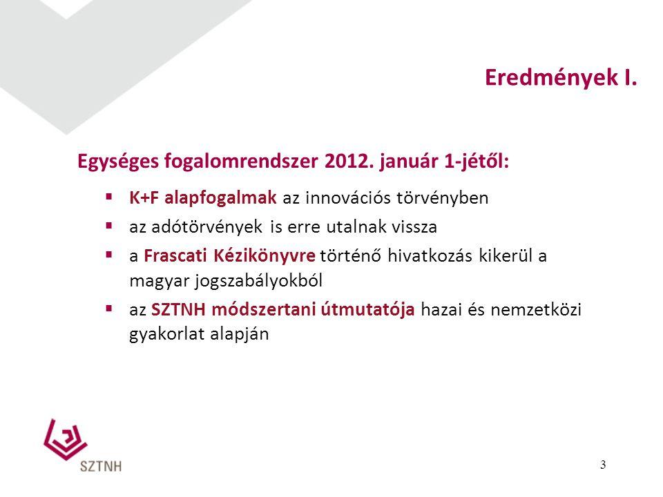 Eredmények I. Egységes fogalomrendszer 2012. január 1-jétől: