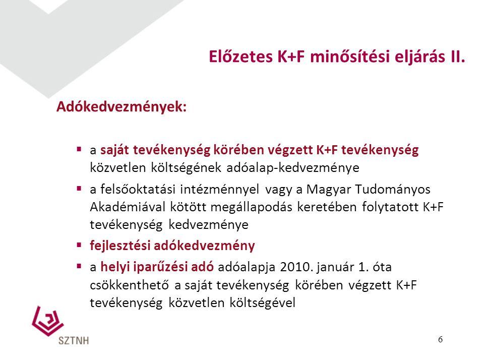 Előzetes K+F minősítési eljárás II.
