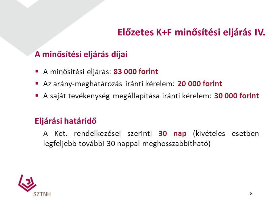 Előzetes K+F minősítési eljárás IV.