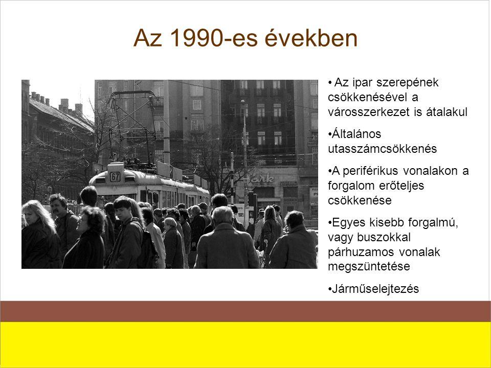 Az 1990-es években Az ipar szerepének csökkenésével a városszerkezet is átalakul. Általános utasszámcsökkenés.