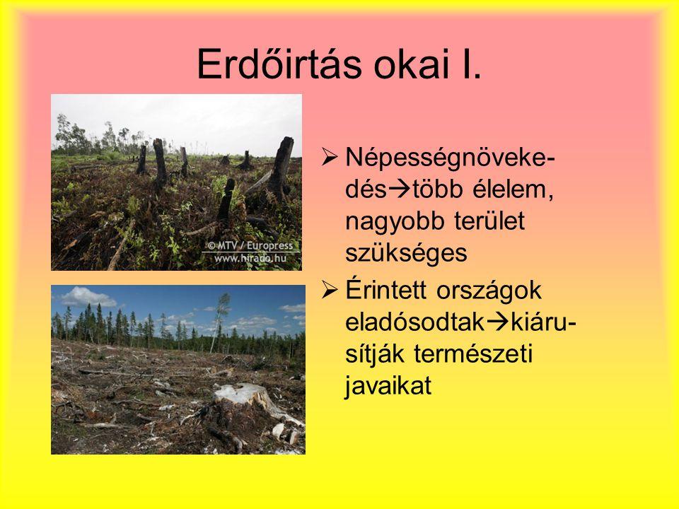 Erdőirtás okai I. Népességnöveke-déstöbb élelem, nagyobb terület szükséges.