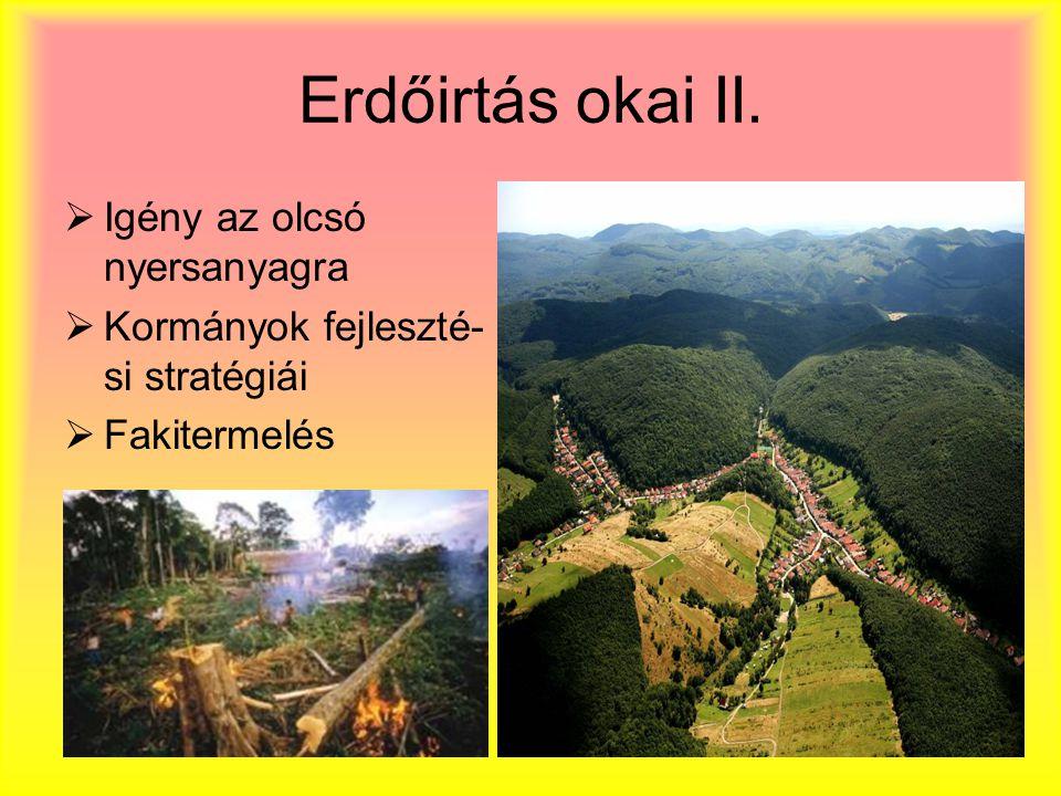 Erdőirtás okai II. Igény az olcsó nyersanyagra