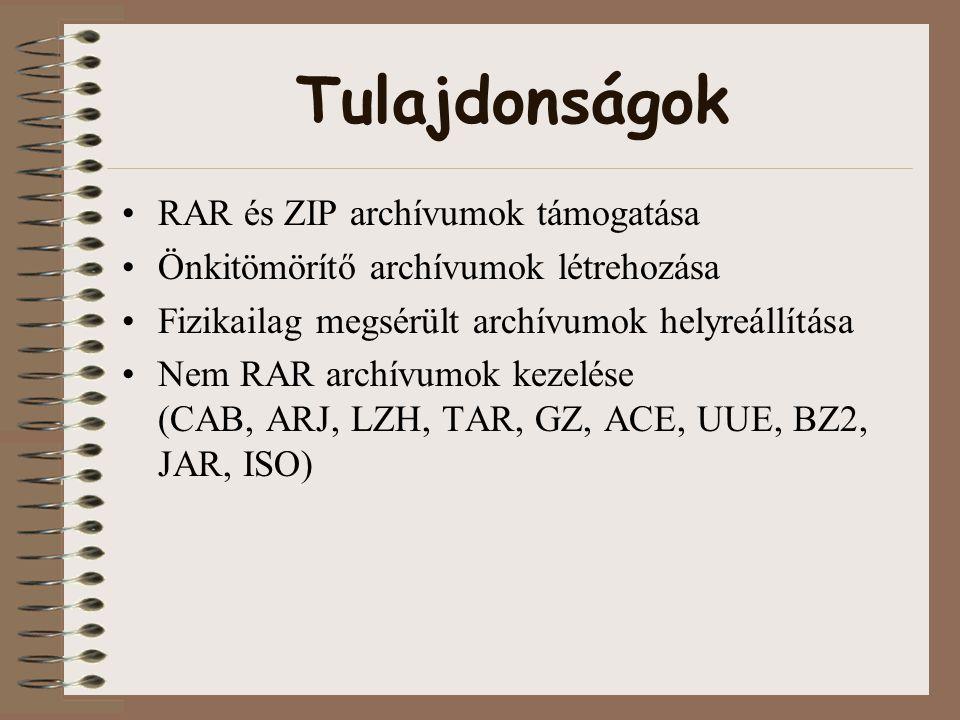 Tulajdonságok RAR és ZIP archívumok támogatása