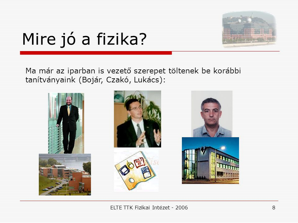 ELTE TTK Fizikai Intézet - 2006