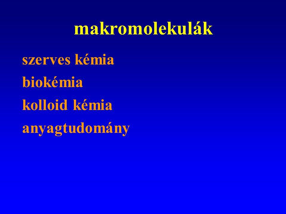 makromolekulák szerves kémia biokémia kolloid kémia anyagtudomány
