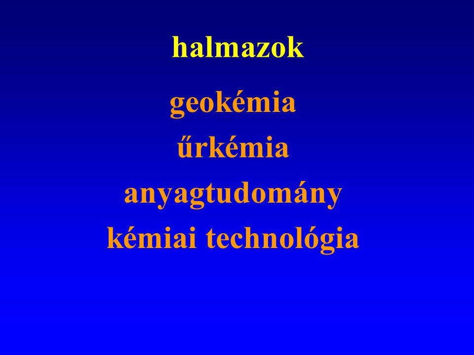 halmazok geokémia űrkémia anyagtudomány kémiai technológia