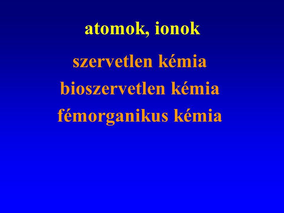 atomok, ionok szervetlen kémia bioszervetlen kémia fémorganikus kémia