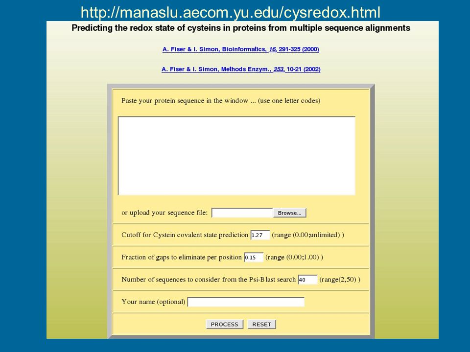 http://manaslu.aecom.yu.edu/cysredox.html
